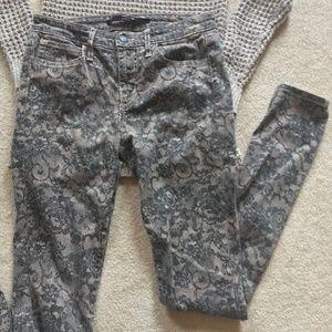Joe's Floral Snakeskin Print Beige Skinny Jeans